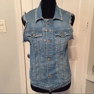 Free People Denim Distressed Vest Size Small